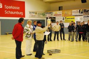 Das Hannig Team beim gesponserten Hallenfußball