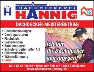 Dachdeckerei Hannig Werbung